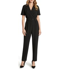 women's tahari belted stretch crepe straight leg jumpsuit