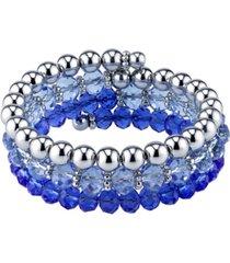 2028 silver-tone sapphire blue beaded coil bracelet