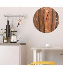 relógio de parede decorativo premium números vazados amadeirado médio