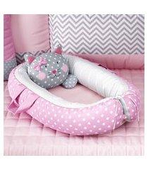 ninho bebê redutor berço rosa gatinha grão de gente rosa