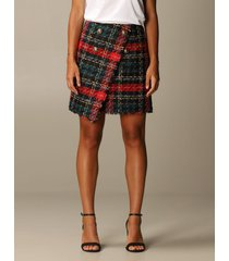 balmain skirt balmain asymmetrical mini skirt in tartan tweed
