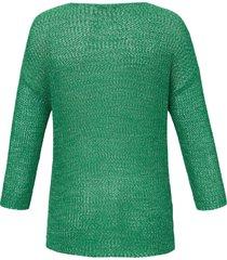 trui met ronde hals en lange mouwen van samoon groen
