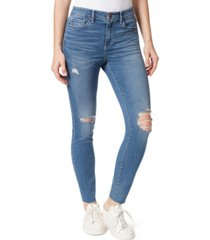 frayed distressed high-rise skinny jeans