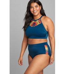 lane bryant women's macrame high-neck no-wire swim bikini top 18 poseidon blue