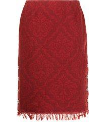 marine serre baroque-pattern fringe skirt - red