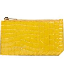 women's saint laurent fragments zip croc embossed leather card case - yellow
