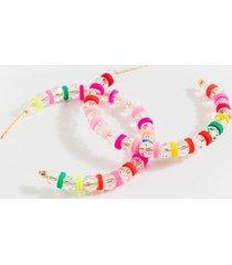 alexa clear beaded hoop earrings - multi