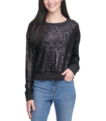 calvin klein jeans cotton allover sequin pullover sweater