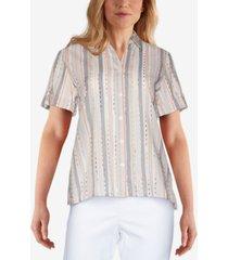 alfred dunner petite classics eyelash stripe shirt