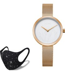 reloj rose gold nature  fashion mask con cristales toms