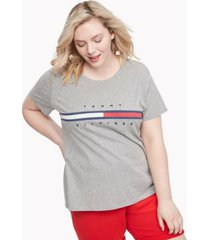 tommy hilfiger women's relaxed fit essential logo flag t-shirt grey heather - l