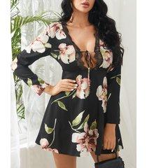 detalles de encaje negro estampado floral al azar cuello en v manga larga vestido