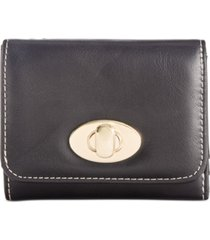 giani bernini turnlock glazed trifold wallet, created for macy's