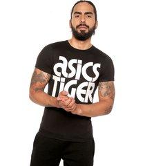 camiseta negro-blanco asics big logo tee