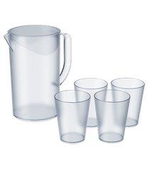 jarra 2l + 4 copos 300ml casual - coza 19,2 x 13,5 x 22,4 cm cristal coza