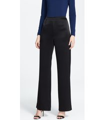 st. john collection kate liquid satin pants, size 2 in caviar at nordstrom
