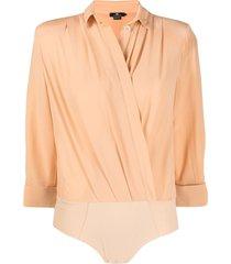 elisabetta franchi shirt-style silk bodysuit - neutrals