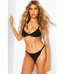 high leg triangle bikini, black
