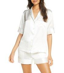 women's kiki de montparnasse silk pajama shirt, size large - ivory