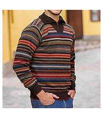men's 100% alpaca pullover sweater, 'brown heights' (peru)