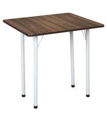 mesa de cozinha dobrável retangular nádia marrom e branca 72 cm