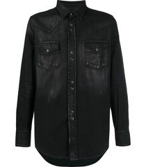 saint laurent coated western shirt - black
