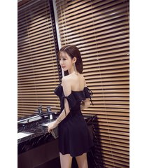 pf263 sexy sweet off shoulder mini dress w lose sleeve, size s-l, black