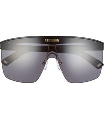 indescratchables renew 141mm shield sunglasses in black /smoke mono at nordstrom