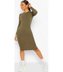 petite basic long sleeve midi dress, khaki
