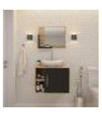 conjunto para banheiro gabinete com cuba folha l38 e espelheira soft 600 carvalho com preto ônix