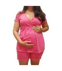 pijama linda gestante short doll pós parto feminino