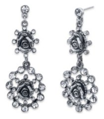 2028 silver-tone crystal flower double drop earrings