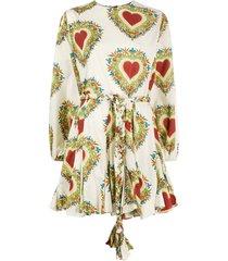 rhode resort braided belt heart print dress - neutrals