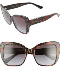 women's dolce & gabbana 54mm gradient butterfly sunglasses - print rose/ grey gradient