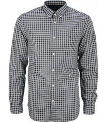 camisa básica a cuadros negro y gris tommy hilfiger