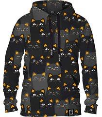 damska bluza z kapturem dr.crow cats orange