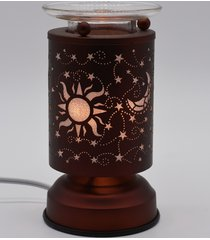 copper sun & moon touch lamp oil/tart warmer - use with scentsy wax