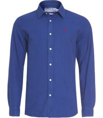camisa masculina maquinetada piquet - azul