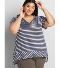 lane bryant women's livi french terry hooded swing tunic - striped 30/32 dark heather grey