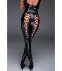 noir handmade wetlook broek met vetersluiting