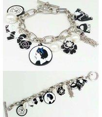 bracelet charm chain fashion medallion black white, birthday wedding, gift ideas