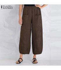 zanzea algodón de las mujeres a largo harem pantalones ocasionales anchas piernas pantalones floja de gran tamaño -marrón