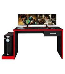 mesa para computador notebook desk game drx 9000 preto/vermelho - móveis leáo