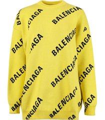 yellow and black logo print sweater