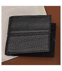 leather wallet, 'sleek chic in black' (mexico)