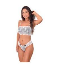 conjunto lingerie top faixa sem bojo - cjsrd010-branco-m branco