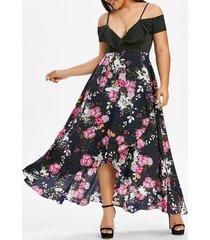 plus size floral print cold shoulder cami tulip dress