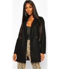 longline wool look blazer coat, black