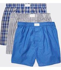 tommy hilfiger men's cotton classics woven boxer 3pk blue - xl