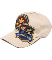 dsquared2 oversized logo patches cap - brown